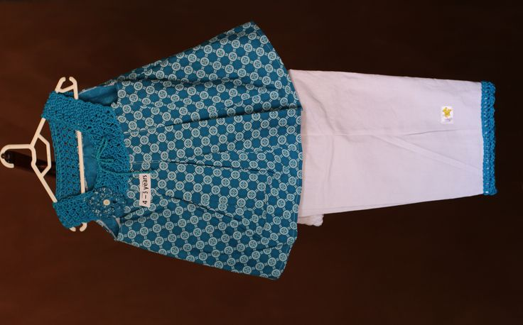 Pinafore top with hand crocheted adjustable bodice and three quarter pants with matching trim