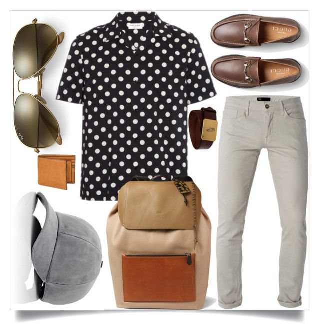 Men's fashion by angelinapomaro on Polyvore featuring polyvore, Yves Saint Laurent, 3x1, Gucci, Ray-Ban, Coach, Vianel, Ralph Lauren, mens, men, men's wear, mens wear, male, mens clothing, mens fashion, PolkaDots, coach, menswear, Fall2016 and menscoach