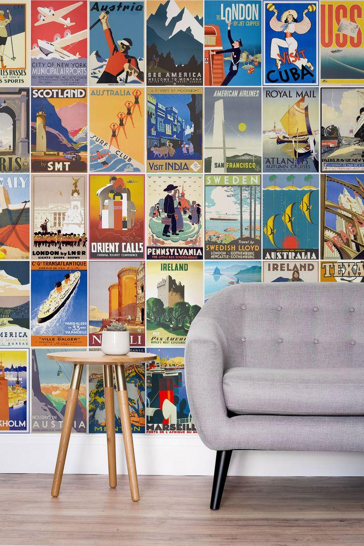 Vintage travel poster wallpaper mural beautiful in love for Art deco wallpaper mural