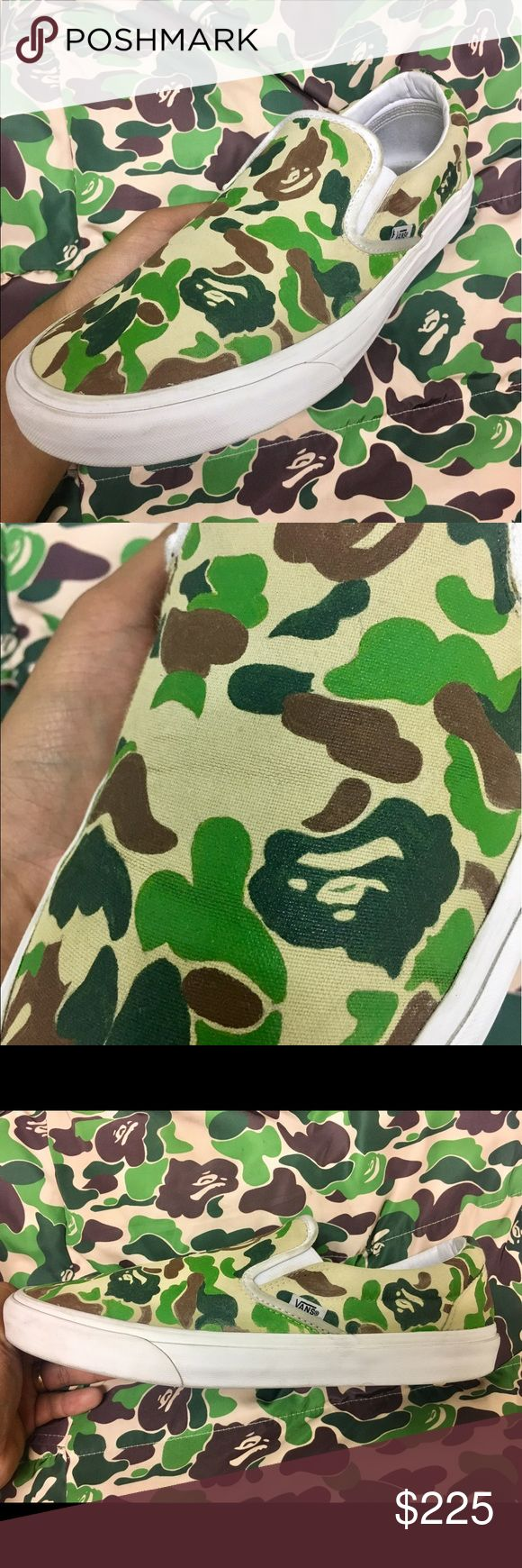 """CUSTOM BAPE CAMO PRINT VANS """"SLIP ON"""" MENS WOMENS Custom made to order. Buyer will RECEIVE ITEM IN 14 DAYS. Why 14 days? Because there is a line of orders that has to be done so please have patience. Vans Shoes Sneakers"""
