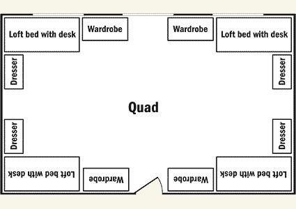 1 room quad dorm room setup - Google Search