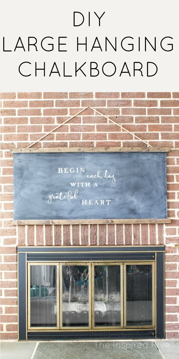 How to make your own DIY large schoolhouse style hanging chalkboard. Perfect idea for modern farmhouse wall decor!