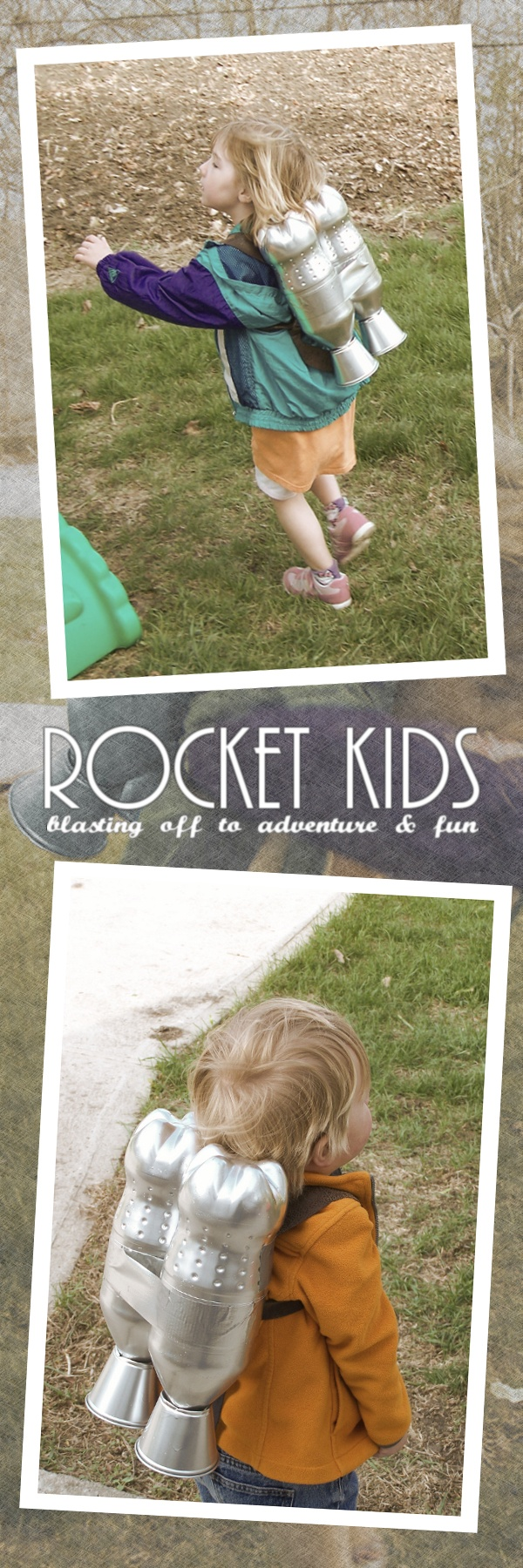 Rocket Kids: blasting off to adventure & fun (or perhaps, Junior Rocketeers). Saw DIY Rocket Packs on Pinterest and decided to make my own. Used pop bottles (sprite specifically for the spots), plastic cups, duct tape, plastic primer, silver paint, and some pleather fabric for the straps.