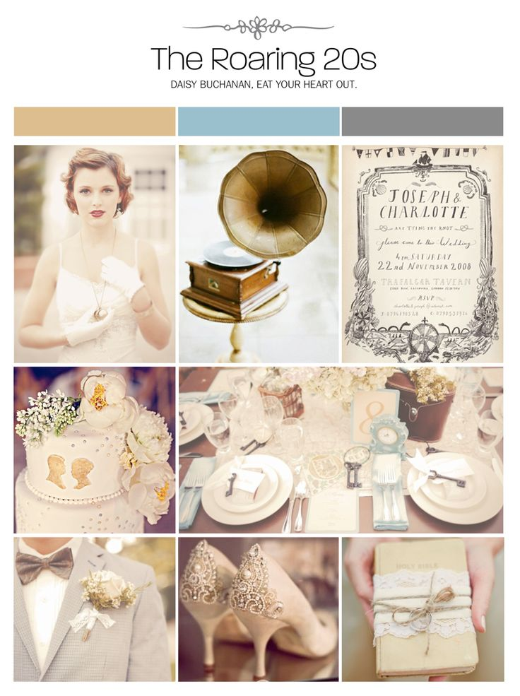 Roaring 20s, Great Gatsby wedding inspiration board via Weddings Illustrated