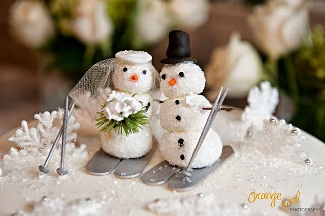 cute winter wedding cake toppers