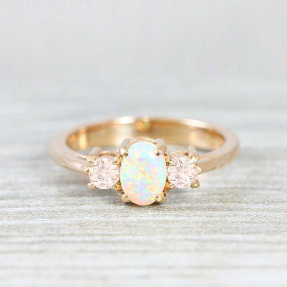 Opal and morganite engagement ring handmade trilogy three
