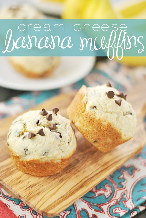 Cream cheese makes these chocolate chip banana muffins unbelievably soft, and they're chock full of chocolate chips!