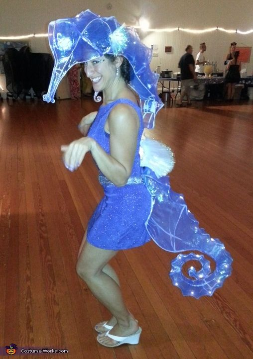 Original Handmade Seahorse Costume with LED lights on spine of the creature. Great for dancing, performing, and partying. dginspace@yahoo.com for inquiries