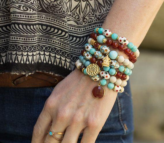 carnelian Bracelet Turquoise Bracelet by AlisonStorryJewelry