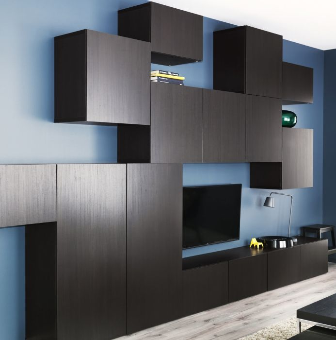 black brown best vara media storage takes organization to another level with tetris style wall. Black Bedroom Furniture Sets. Home Design Ideas