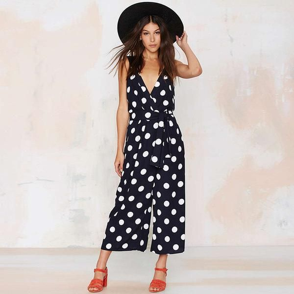 Sexy v-neck Backless Jumpsuits Dot Print Waist Lady Rompers