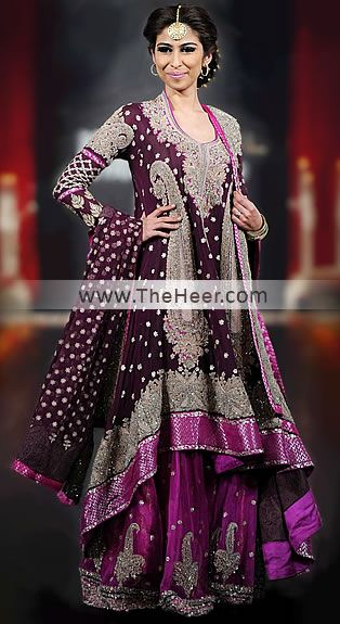 BW6184 Dark Tyrian Purple  Fandango Crinkle Chiffon Sharara Pakistani Wedding Dress Green Street Bridal Wedding Gowns Green Street Bridal Wear