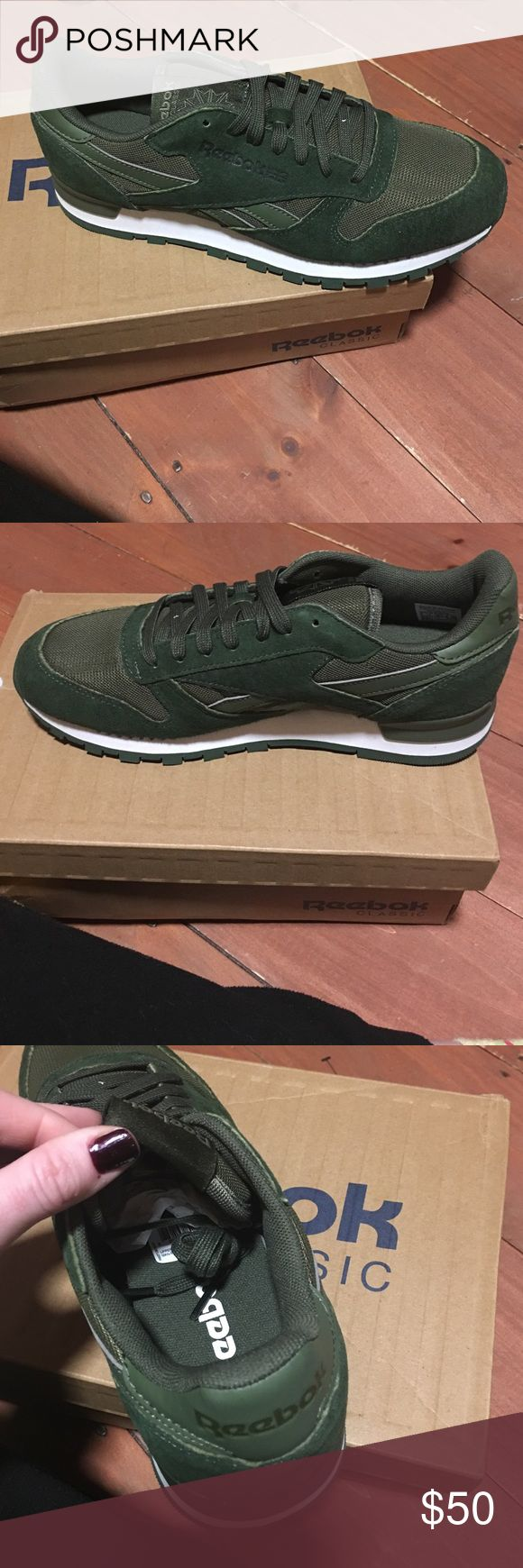Reebok Classics - green size 8 men/9 women Brand new w tags and original box/packing! Super cute Reebok classics size 8 (mens)! Dress them up with skinny jeans and a tee! Reebok Shoes Sneakers