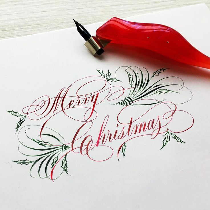 Merry Christmas! 筆具:Gillott 302尖 #penmanship #handwriting #handlettering #lettering #nib #design #type #finetec #英文書法 #西洋書法 #沾水筆 #love #instagood #copperplate #calligraphy #calligraphymasters #merrychristmas – Anna-Angelica Okşar