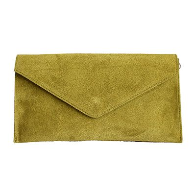 Lucia Italian Olive Green Leather Envelope Clutch Bag - £24.99