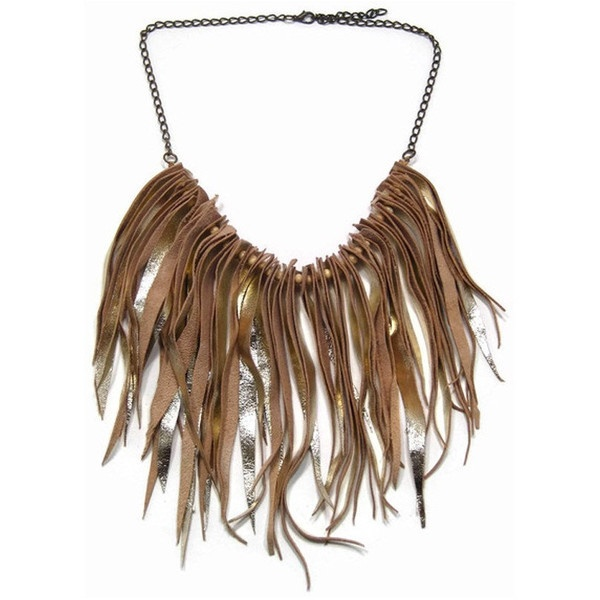 Statement jewelry fringe leather necklace in gold by maslinda ($59) via Polyvore