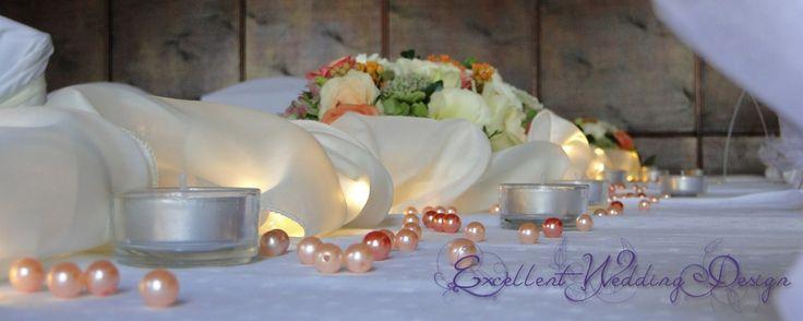 Esküvői dekoráció-asztaldísz, esküvői fények, barack esküvői dekoráció