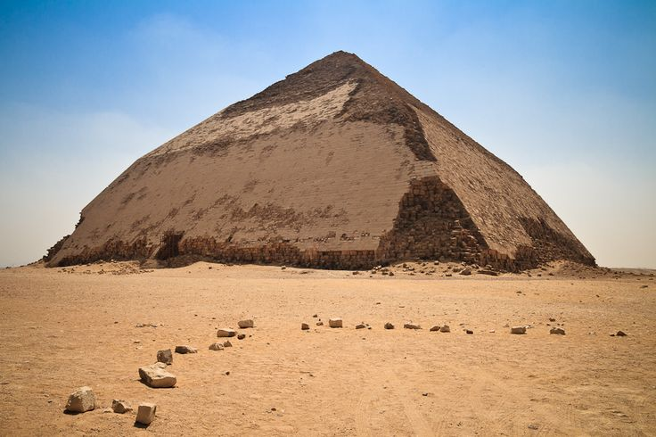 Dahsyur - the bent pyramid of Egypt. Bent due to some architectural hiccups during construction. The structure of the inside is very interesting!