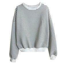 Novo 2016 Moda de Algodão de Manga Longa O Pescoço Preto Branco Listrado Curto camisola Solta camisa Casual T Tops da menina camiseta mulheres 801(China (Mainland))