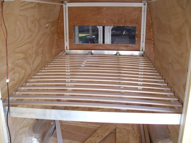 Mark welded together a metal frame and installed slats from an IKEA bed