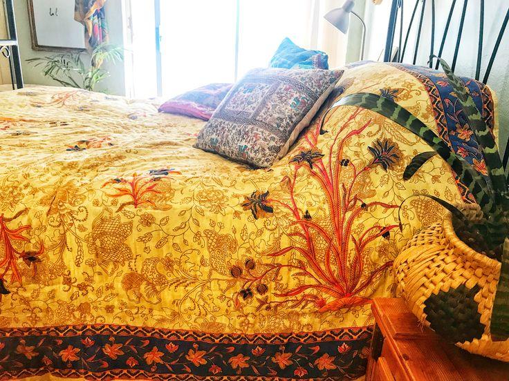 Jaipuri Razai Quilt - so much colour and warmth  #jaipurirazai #quilt #handmade #bohemiandecor #bohemianbedding