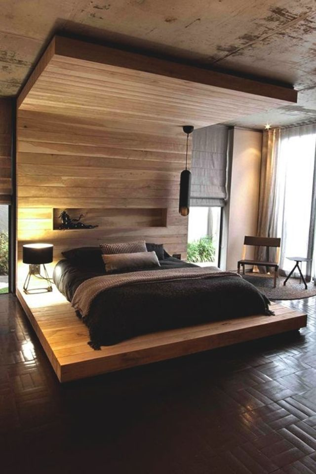 Architecture, Warm Master Bedroom Lighting Ideas With Wood Wall Panels  Exposed Concrete Ceiling And Floor Lamp Design: The Elegant Aupiais House  By Site ...