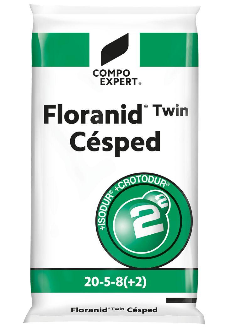 Floranid Twin Cesped Σύνθεση: 20-5-8 +2+IXN  20% ολικό άζωτο (2,5% νιτρικό 8,0% αμμωνιακό, 5.7 % ISODUR®, 3.8% CROTODUR®), 5% P2O5, 8% K2O, 2% MgO, 7% S.  ΙΧΝΟΣΤΟΙΧΕΙΑ: 0,02% B, 0,01% Cu, 0,85% Fe, 0,1% Mn, 0,01% Zn  Κοκκοποίηση 90%: 0,7 - 2,8 mm  Λίπασμα πλούσιο σε μονάδες αζώτου ISODUR και CROTODUR, ιδανικό για ταχύτατα αποτελέσματα. Διάρκεια δράσης του αζώτου έως και 4 μήνες. Κατάλληλο για συντηρήσεις σε χλοοτάπητες υψηλών απαιτήσεων όπως αθλητικά στάδια, γήπεδα γκολφ, ιδιωτικά έργα…