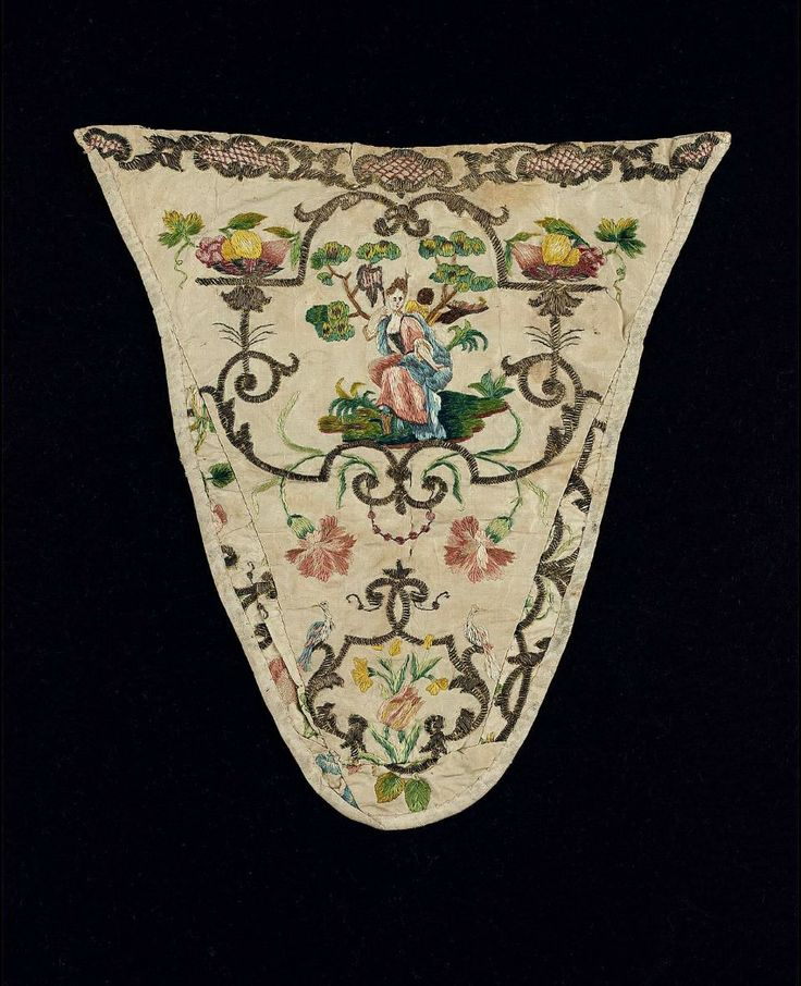 White silk taffeta stomacher embroidered with poly-chrome silk and gilt-silver yarns; design of seated woman, fruit baskets at top sides, birds at bottom sides, flowers between; Italy, 1750-1775.