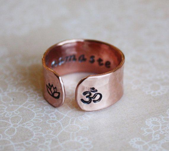 Namaste secret message copper om lotus flower ring by ZennedOut