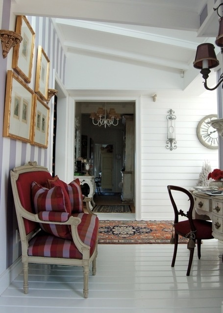 Florence Masson's home in Yzerfontein - south africa - love the clapboard walls, and striped wall