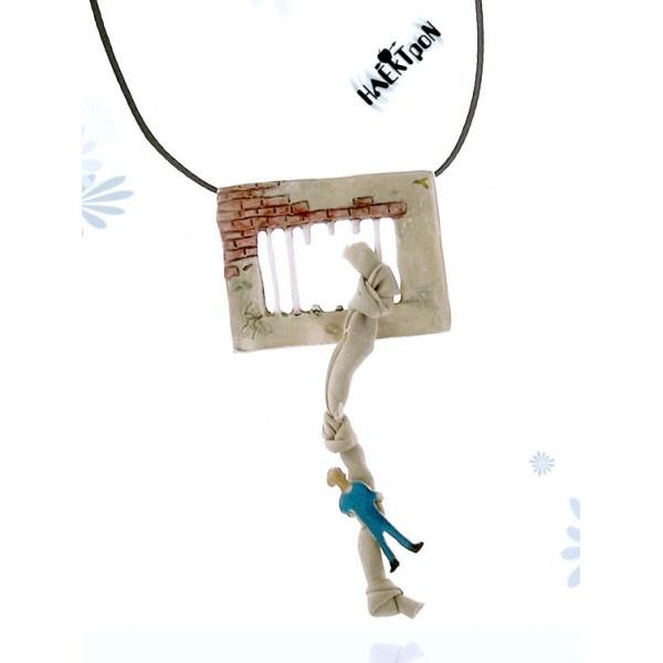 prison escape, handmade silver pendant