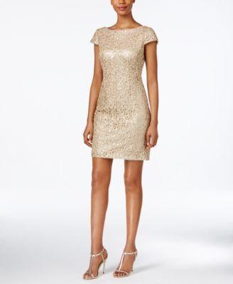 Adrianna Papell Sequined Lace Sheath Dress   macys.com