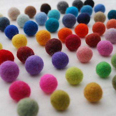 100% Wool Felt Balls - 20 Count - Handmade - 1.5cm