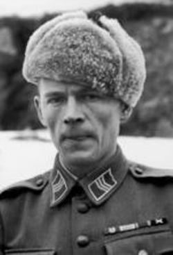 "Toivo Manninen (1916-1943), Knight of the Mannerheim Cross No.100. A persistent and brave leader, he led some twenty successful patrols to enemy positions and to the rear of the enemy. On August 5, 1941, during attack on so-called ""Hill of Death"", he took command of the platoon after the leader fell, and continued teven after his foot was torn apart by landmine. He led his men to the objective and to victory on one foot, checking that the defense would hold, before being evacuated."