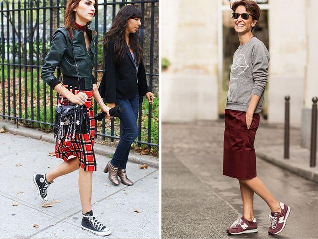 Falda de cuero+zapatillas