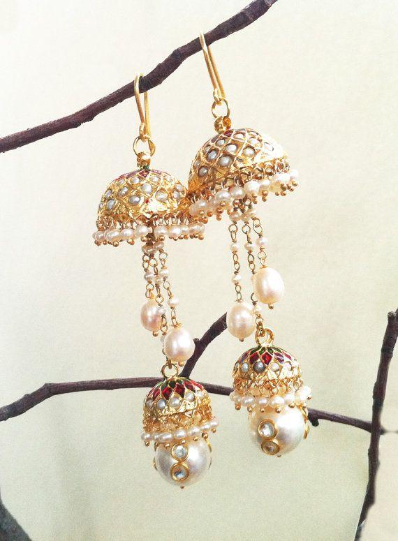 JHUMKAS PEARL Jhumka Earrings Freshwater Pearl by taneesijewelry