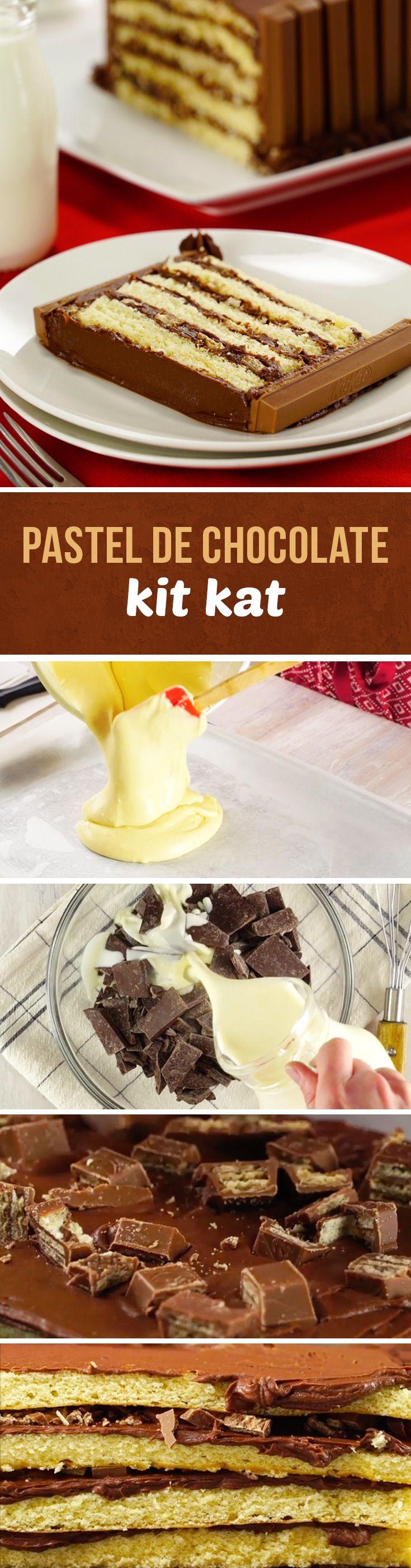 Pastel Kit Kat de chocolate y barras de chocolate Kit Kat. Este pastel es perfecto para fiestas de cumpleaños o para el Día del Niño. Si eres fanático del chocolate, no te puedes quedar sin probarlo.