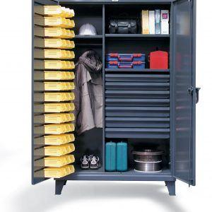 Locking Storage Cabinet With Bins