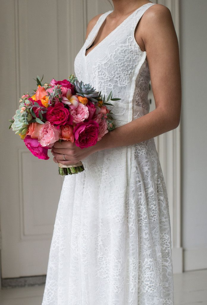 Pink wedding bouquet with Kate David Austin roses.