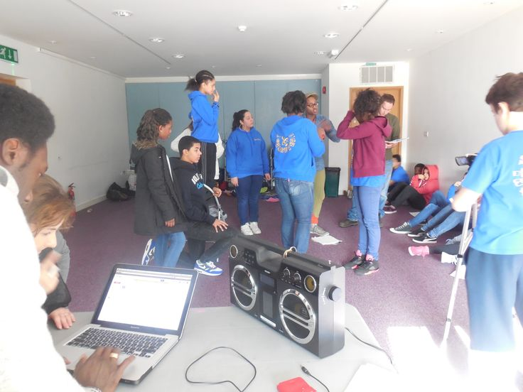 Y&T Teens working on their music video with: Y&T Tutor Arnie, Y&T Director Suzann, professional filmmaker Winstan, partner from Hobo Theatre Jamie and guest professional journalist and Y&T PR Jemma.