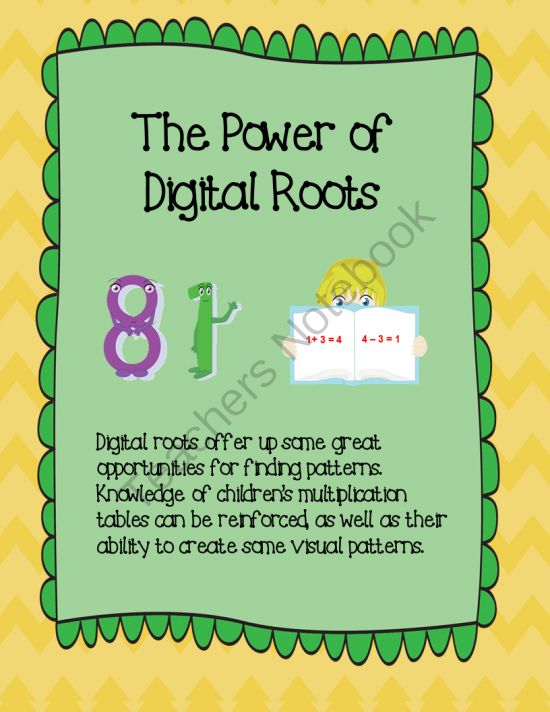The Power of Digital Roots! Enter for your chance to win 1 of 5.  The Power of Digital Roots (11 pages) from The Teachers Garden on TeachersNotebook.com (Ends on on 8-12-2014)  This product is an informational PDF discussing digital roots. A must read for those who teach upper elementary mathematics.  This is a great strategy for students to use when checking their math computations!