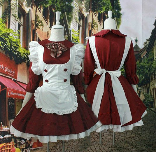 Japanese Anime Cosplay Costume Women Lolita French Maid Costume Apron Dress in Clothing, Shoes & Accessories, Costumes, Reenactment, Theater, Costumes   eBay