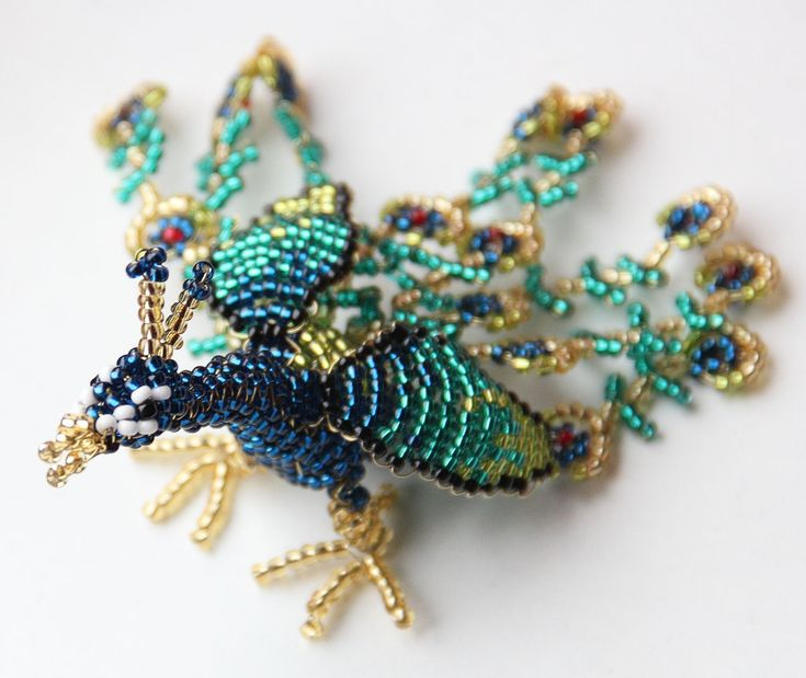 peacock beaded animal by calyses deviantart on