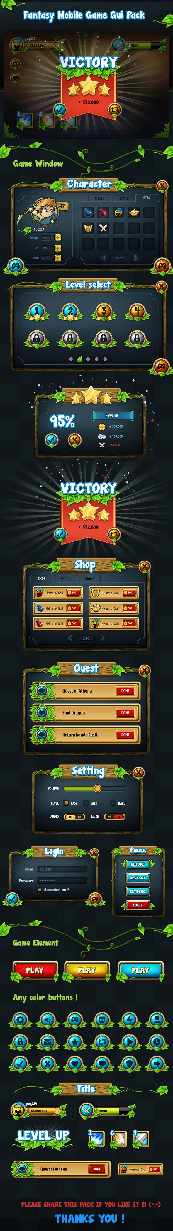 Fantasy Mobile Game Gui Pack 04 Every screen shares a similar aesthetic to create a unity between the screens. The artwork, borders, font and icons are mainly bright to emphasise them.
