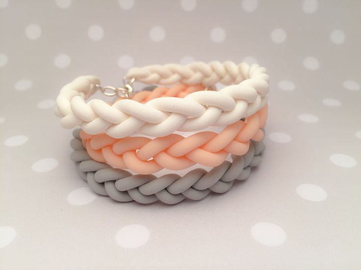 Customize Three original bracelets made from fimo clay. Beautiful grey, white…