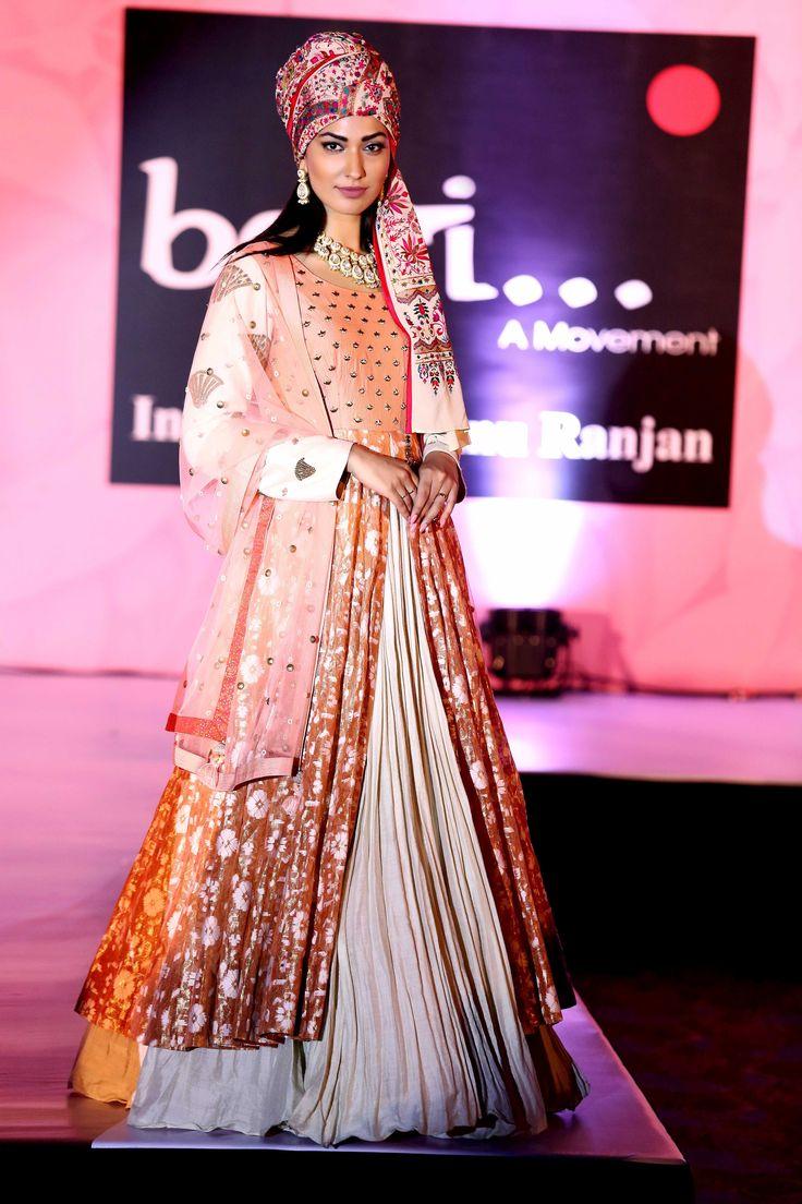 Jhatlekha Malhotra in ivory & peach banarsi gown- StudioAV by GauravnNitesh