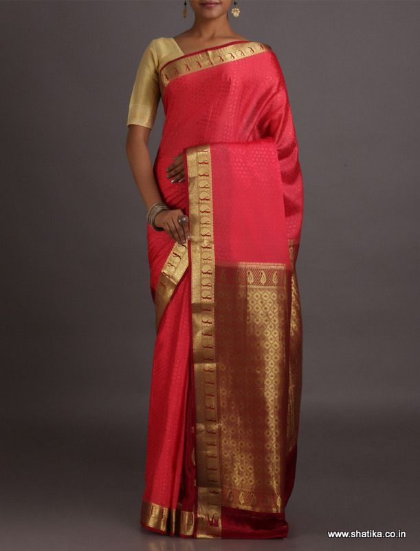 Anupama Bright Ornate Border Pallu Dressy #MysoreSilkSaree