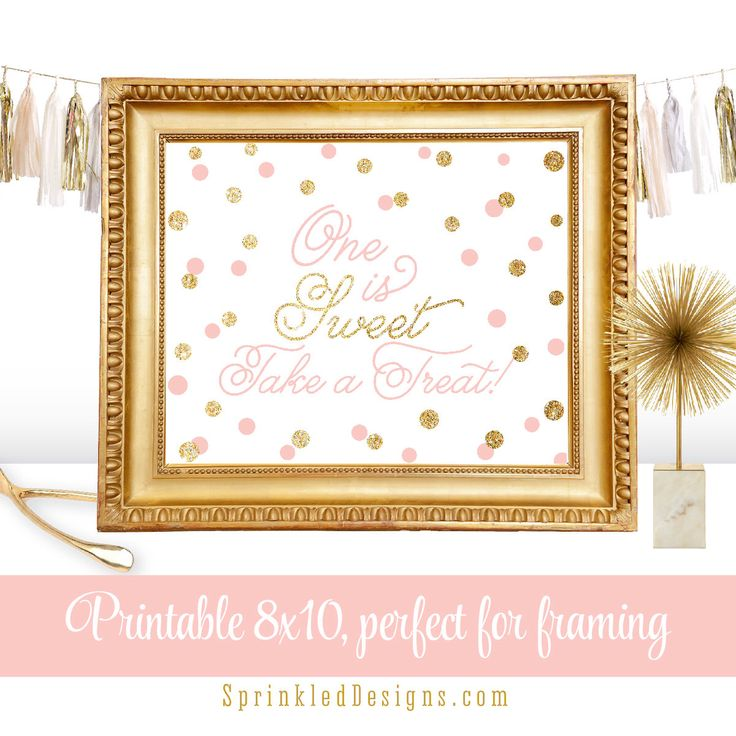 One is Sweet Take A Treat - Printable Nursery Art First Birthday Favor Sign Gold Glitter Blush Pink Big One - INSTANT DOWNLOAD by SprinkledDesign on Etsy https://www.etsy.com/listing/228308136/one-is-sweet-take-a-treat-printable