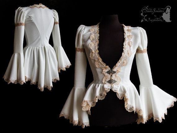 ➸ This cardigan is inspired by late Victorian fashion, ajusted to own design. Its made of a a patterened sturdy off white stretch fabric decorated with pale nude lace and different trims. The front closes in the waist with 2 silver tone metal clasps. ➸ Youll receive the very item in the pictures. All items of Somnia Romantica are OOAK or made in small quantities. All items are premade and ready to ship. I ship out in 1-3 days after purchase, priority & with tracking, from The Netherlands…