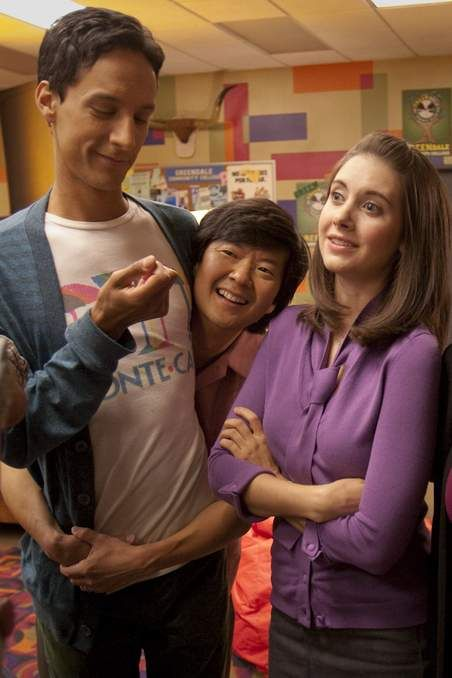 Behind the scenes: Danny Pudi, Ken Jeong, and Alison Brie.